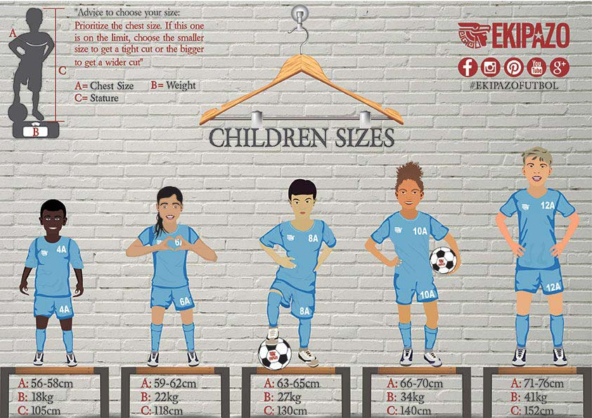 Size Guide for Kids for custom football kits