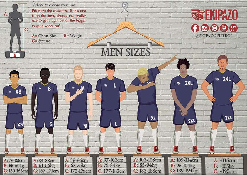 Size Guide for men for custom football kits