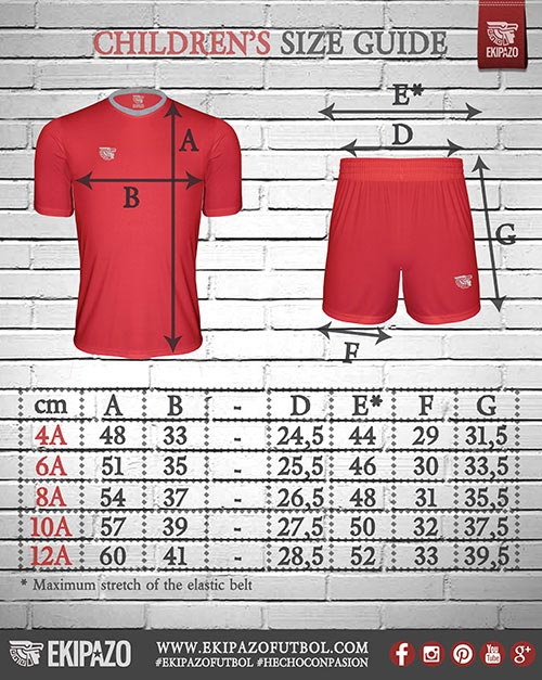 Measures of our custom football kits for kids
