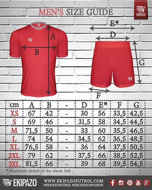 Measures of our custom football kits for men