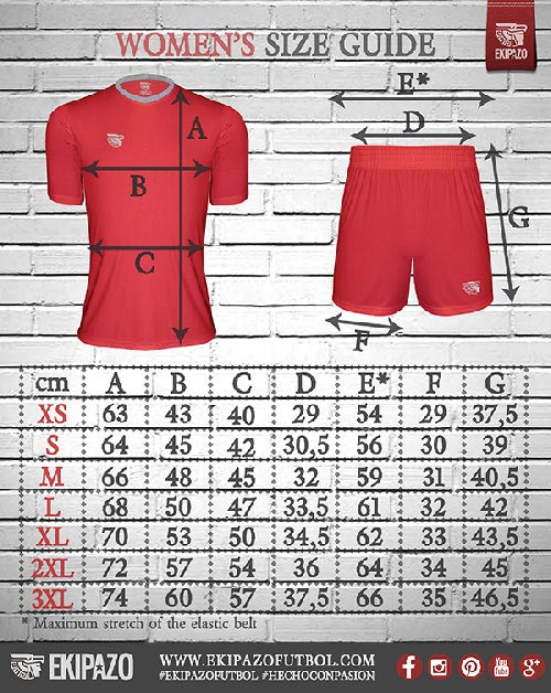 Measures of our custom football kits for women