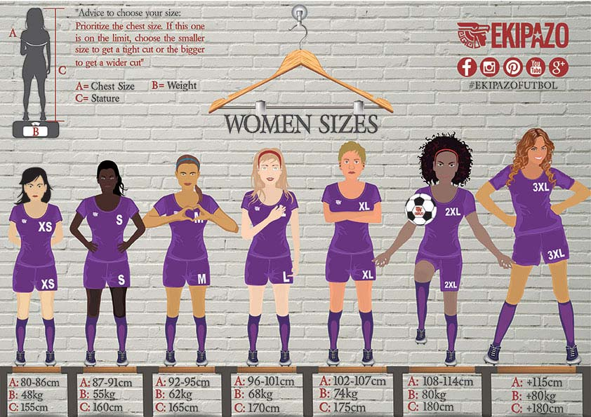 Size Guide for women for custom football kits