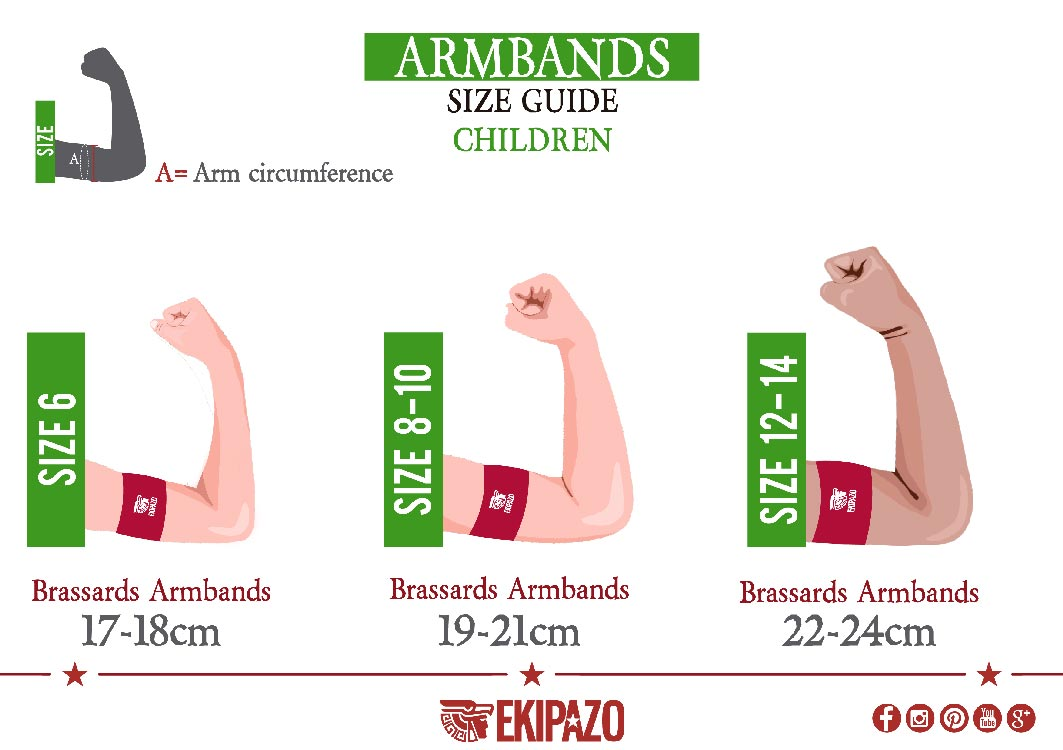 Size guide of custom capitan armbands for children ekipazo