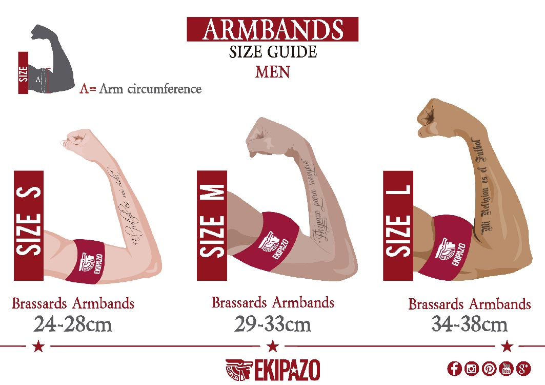 Size guide of custom capitan armbands for men ekipazo