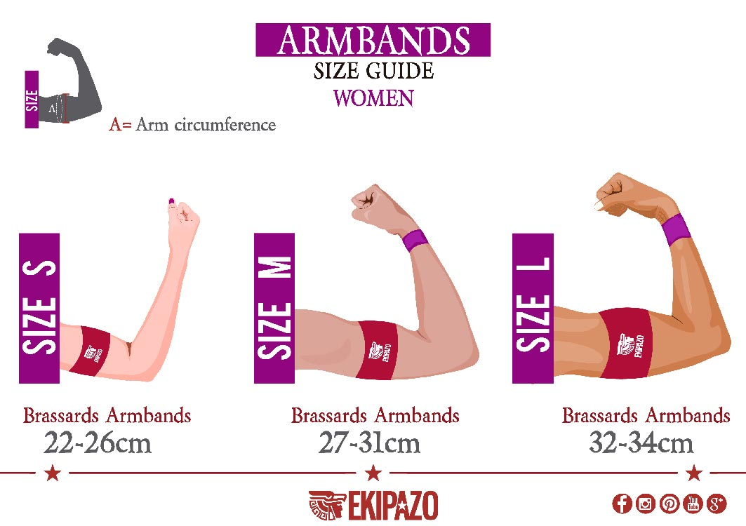 Size guide of custom capitan armbands for women ekipazo