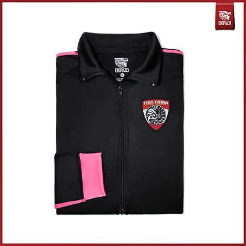 Survetement personnalisé femme en noir et rose ekipazo